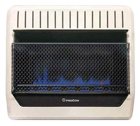 A white blue flame vent free dual gas heater