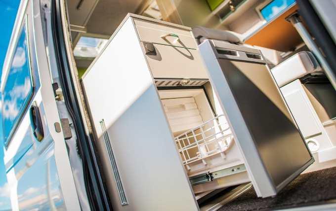 A camper van refrigerator