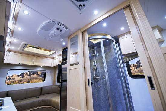 Inside an RV and it's shower room