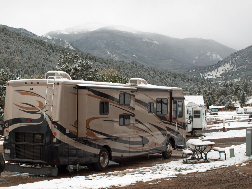 An RV in Rocky Mountains in Colorado in the winter