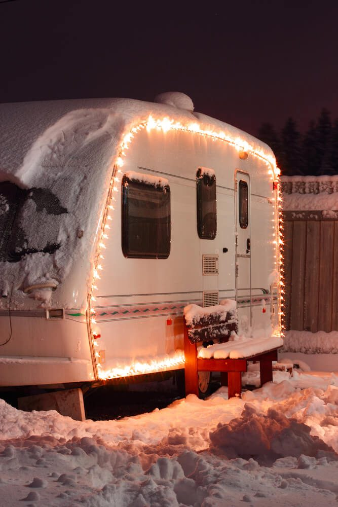 Travel trailer parked in the snow in winter