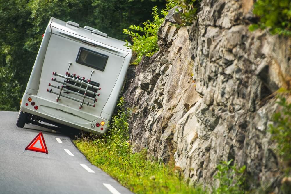 An RV motorhome accident on a winding mountain road