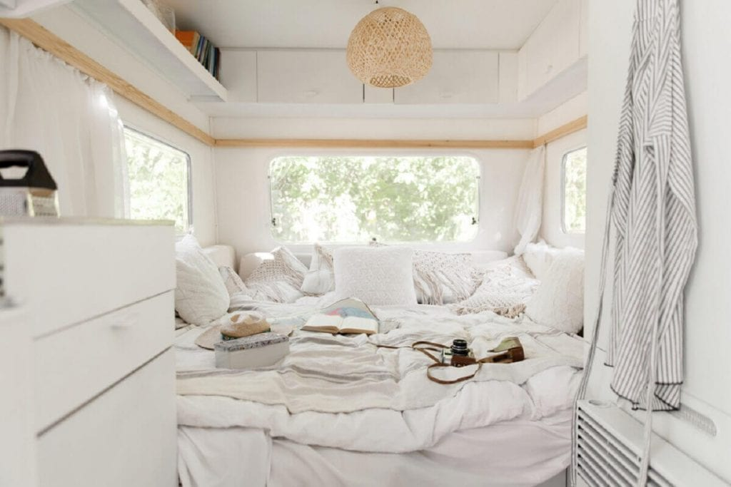 A white RV interior minimalist decor ideas